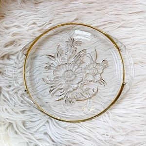 3 Vintage Janette Glass Camellia Tray Snack Plates